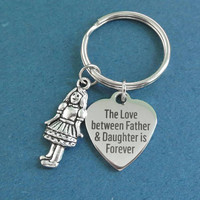 The Love between Father & Daughter is Forever, Girl, Silver, Heart, Keyring, Gift, Jewelry, Accessory