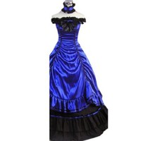 Partiss Womens Off-shoulder Multi-Layer Gothic Victorian Dress, X-Small,Blue