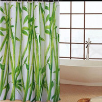 180 x 180cm Bamboo Forest Waterproof Fabric Bathroom Shower Curtain With 12pcs Curtain Hooks Rings