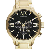 Armani Exchange Mens Gold Tone Stainless Steel Chronograph Watch