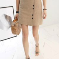 Buttoned Wrap Mini Skirt