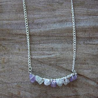 Silver Wire Wrapped Stone Bar Necklace