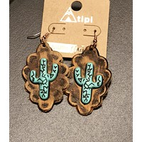 Cactus Leather Earrings