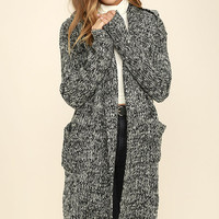 Night Changes Black and White Long Cardigan Sweater