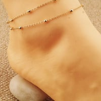 Sweet Copper Beads Chain Anklet For Women