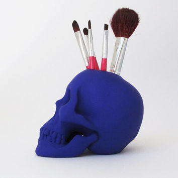Skull Brush/Pen Holder, Skull, Office Organiser, Human Blue Skull, Skull Figurine, Office Decor, Gift for Her, Hodi Home Decor, Human Skull,