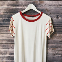 Stripe Sleeve Ringer Tee (Red)