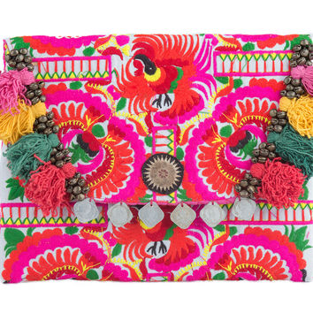 Pom Poms Ipad Clutch Bag with Hmong Embroidered