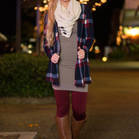 Plaid To See You Cardigan, Navy