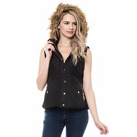 Lightweight Quilted Puffer Vest with Faux Fur Trim Hoodie (CLEARANCE)