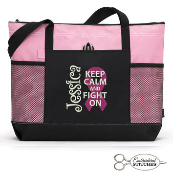 Breast Cancer Awareness, Chemo Personalized  Zippered Tote Bag Keep Calm and Fight On