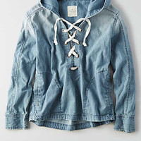 AEO Lace-Up Anorak, Medium Wash