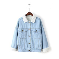 Women Boyfriend Cotton Jeans Denim  Sweater Cardigan Coat Jacket Outerwear _ 9877