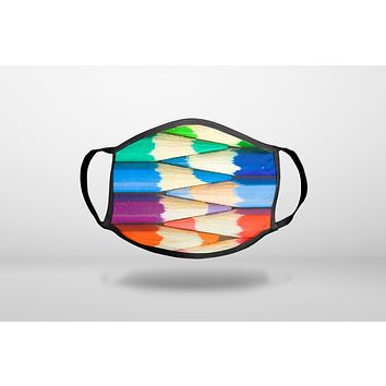 Rainbow Colored Pencils - 3-Ply Reusable Soft Face Mask Covering, Unisex, Cotton Inner Layer
