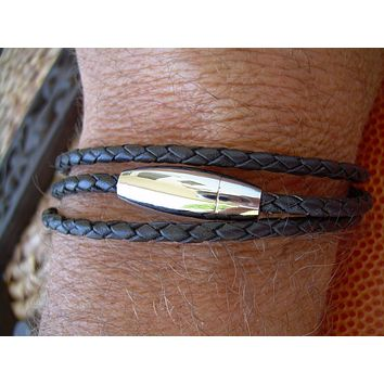 Black Braided Triple Wrap Mens Leather Bracelet with Stainless Steel Magnetic Bullet Clasp