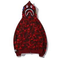 Bape Aape Autumn And Winter New Fashion Shark Camouflage Hooded Keep Warm Long Sleeve Sweater Coat Red