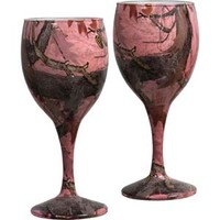 River's Edge Pink Camouflage Wine Glasses - Set of 2