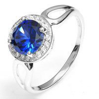 Amelia Blue Sapphire Pure 925 Sterling Silver Ring