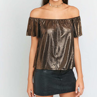 Sparkle & Fade Liquid Glitter Off-The-Shoulder Top - Urban Outfitters