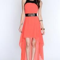 Neon Coral Two Tone Cross Cut Out High Low Hem Dress