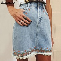 High Waist Denim Skirt 2017 Summer Women Mini Skirts Flower Embroidery Pencil Skirts Tassels Short Skirt Cool Boho Girls Bottom