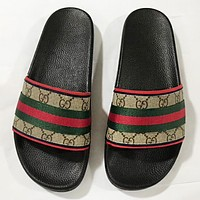 GUCCI Fashion New Stripe More Print Canvas Women Flip Flop Slippers Shoes