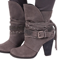 Grey Suede Sparkling Strappy Boot