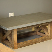 Concrete and Reclaimed Wood  Coffee Table. 100 % Handmade right here in the U S of A.  Modern/Rustic Mix