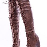TAN FAUX LEATHER LACE UP LONG COMBAT STYLE WITH HEEL KNEE HIGH LONG BOOTS