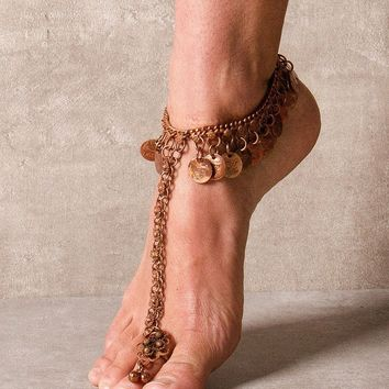 Indian Coin Anklet with Toe Ring