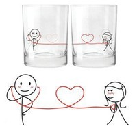 """BOLDLOFT® """"My Heart Beats for You"""" His & Hers Drinking Glasses-His Hers Couple Gifts,Matching Couples Gifts,Christmas Gifts for Him for Boyfriend,Cute Valentines Day Gifts,Romantic Anniversary Gifts"""