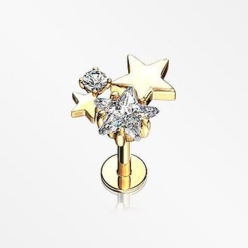 Golden Sparkle Stars Top Internally Threaded Steel Labret