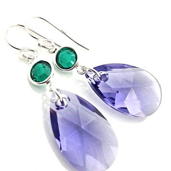 Tanzanite Earring, Big Purple Earrings, Purple Pendant. Purple and Green, Glam, Emerald, Pendant Earring, Teardrop Dangle, Swarovski Crystal