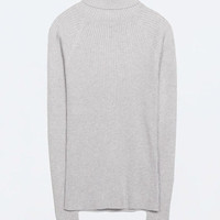 Gray Chunky Knitted Turtleneck Sweater Top