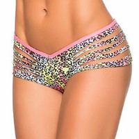 Neon Cheetah Print Slashed Booty shorts