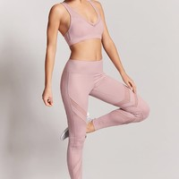 Active Metallic Mesh-Panel Leggings