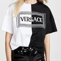 VERSACE Hot Sale Stylish Casual Embroidery T-Shirt Top Tee