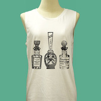 Victorian Antique Style Perfume Bottles - Womens Tank Top Mini Dress Printed White T Shirt Light and Soft