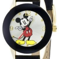 Disney Mickey Mouse Women's MCK537 Moving Hands Black Strap Watch