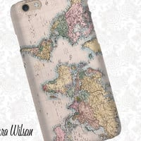 Vintage world map iPhone 6 Case, iPhone 5S Case, iPhone 5 Case, Cell Phone Cover, iPhone 5C Case, iPhone 6 Plus Case, Pattern iPhone 6s case