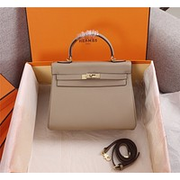 HERMES WOMEN'S LEATHER KELLY 25 HANDBAG INCLINED SHOULDER BAG