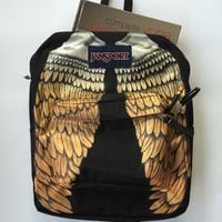 Hand Painted Metallic Wings Custom Jansport Backpack Bookbag Ready to Ship