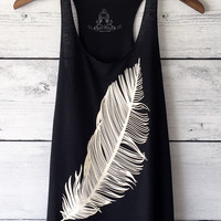 Feather Graphic Print Tank Top