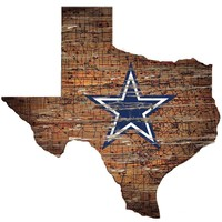 """DALLAS COWBOYS STATE WALL ART DISTRESSED WOOD SIGN 24""""X24'' NEW FAN CREATIONS"""