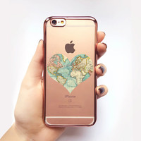 Transparent World Map iPhone Case - Transparent Case - Clear Case - Transparent iPhone 6 - Transparent iPhone 6S - Gel Case - Soft TPU