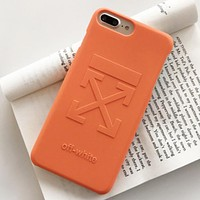 Off White Fashion New Letter Hook Print Women Men Phone Case Protective Cover Orange
