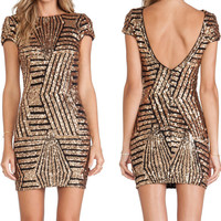Sequin dress Fashion Sexy Silver Gold Party dresses Womens clothing Short Backless dress Punk dress
