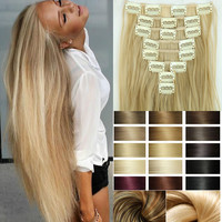 Hairpiece 23inch 170g Straight 18 Clips in False Hair Styling Synthetic Clip In Hair Extensions 8pcs/set Heat Resistant Hair Pad