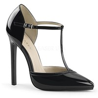 "Sexy 27 Black Patent T Strap d'Orsay 5"" Heel Pointed Toe Sandal"