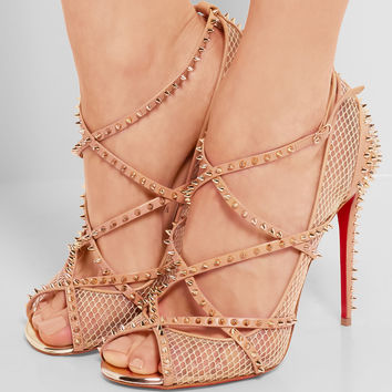 Christian Louboutin - Alarc 100 spiked leather-trimmed fishnet pumps